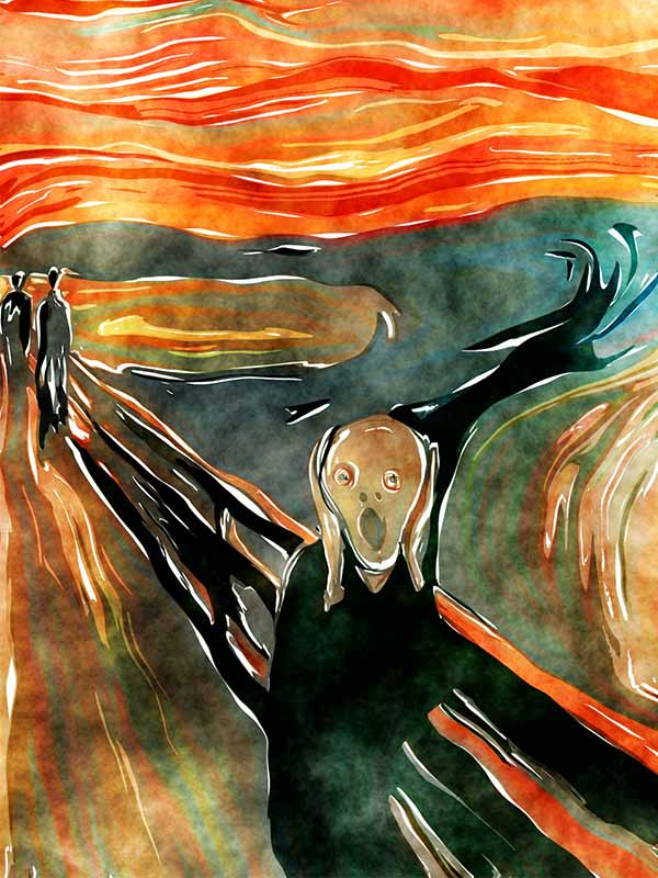 The painting of the scream a figure screming with destruction behind them